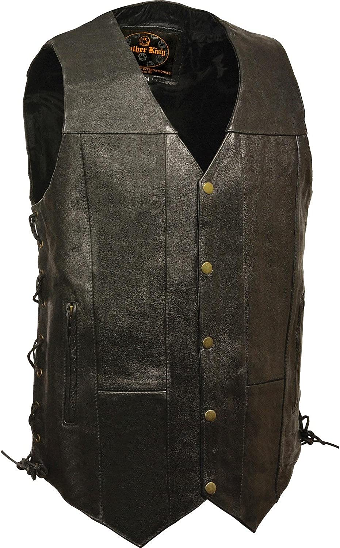 Milwaukee Leather Men's 10 Pocket Side Lace Vest Tall Black 38