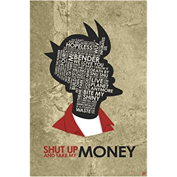 """Fry, Shut Up and Take My Money Giclee Art Print Poster from Typography Drawing by Pop Artist Stephen P. 12"""" x 18"""""""