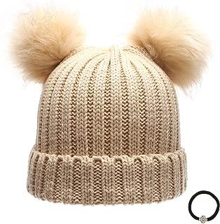 Women's Winter Chunky Knit Double Pom Pom Beanie Hat with Hair Tie.
