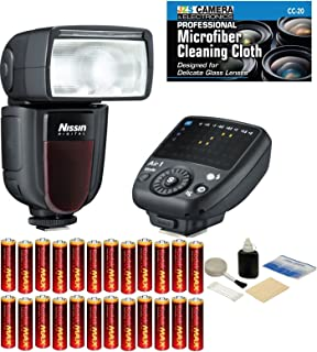 Nissin Di700A Flash Kit with Air 1 Commander for Sony Cameras with Multi Interface Shoe + 24 Pieces AA Alkaline Batteries + 5 Piece Lens Cleaning Kit + JZS Micro Fiber Cloth