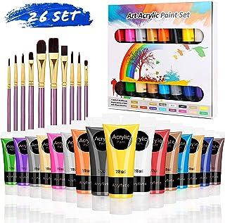 RATEL Peinture Acrylique, 26 Kit de Peinture Acrylique pour Artistes Comprenant 16 x 75 ML de Pigment Acrylique + 10 pince...