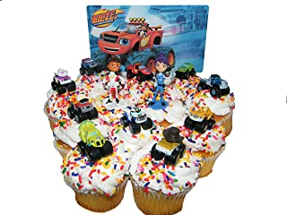 PARK AVE Blaze and The Monster Machines Birthday Deluxe Mini Cake Toppers Cupcake Decorations Set of 12 Figures with Blaze, JR, Gabby, 9 Other Monster Machines
