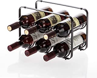 Home Zone Kitchen Tabletop Wine Storage Rack, Stackable Modular Design, Holds up to 6 Bottles (Oil-Rubbed Bronze)