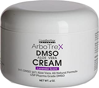 DMSO Cream With Aloe Vera - Lavender Scented, Made With 99.9% Pure Pharmaceutical grade DMSO - 70% DMSO/30% Aloe Vera, Made in USA for Live Better Naturals 4 oz