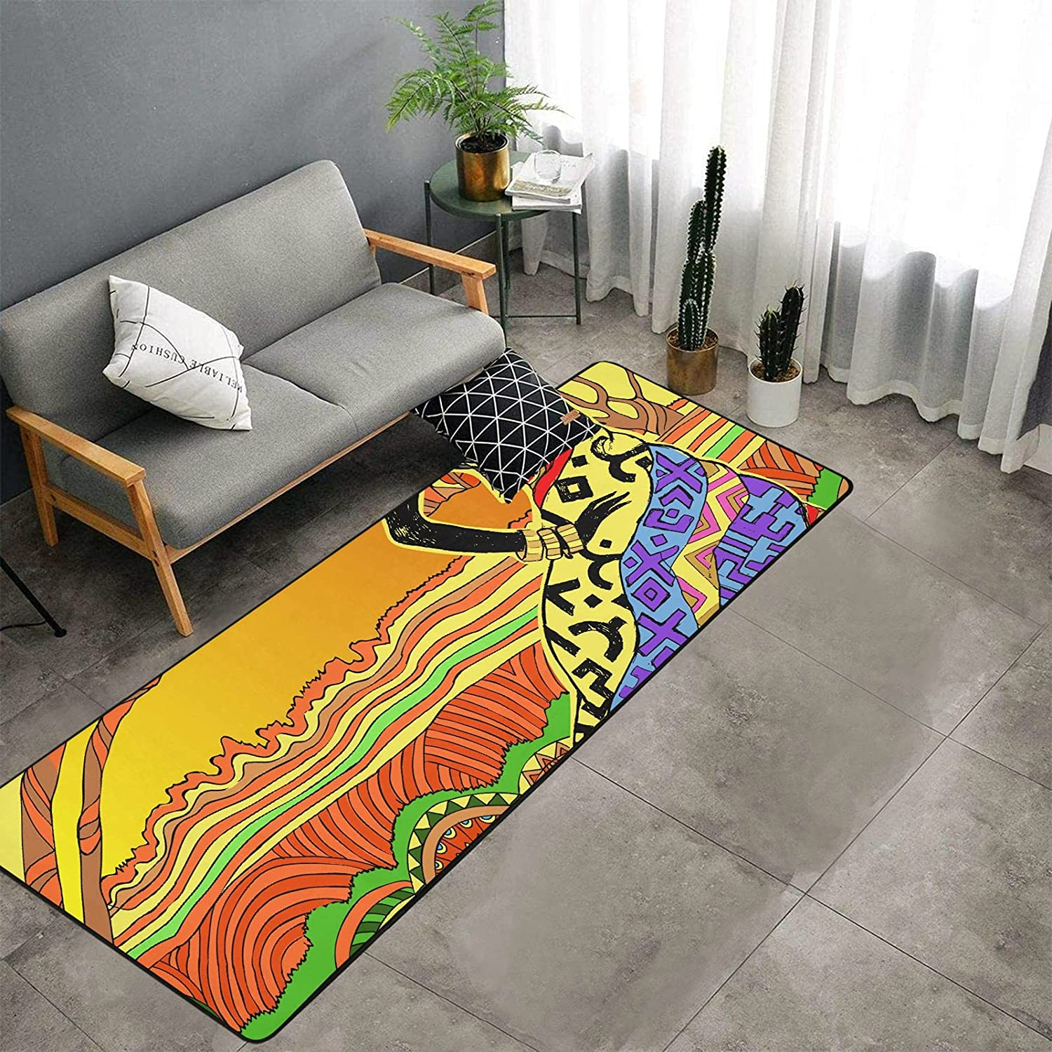 Max 71% OFF African Beautiful Drawn Woman In a popularity Portrait for Bedroom Kitch Rugs of