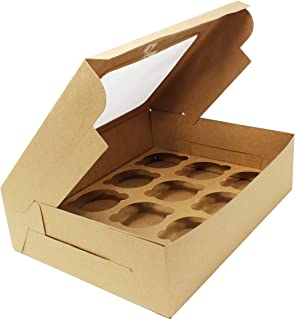 """Bakery Boxes with Windows and Inserts for 12 Cupcakes or Muffins; Pastries, Baked Goods, Treats. Set of 13 Kraft Brown Boxes -Take Out Box Containers. Perfect for Any Baker. 12.25"""" x 9.5"""" x 3.5"""""""