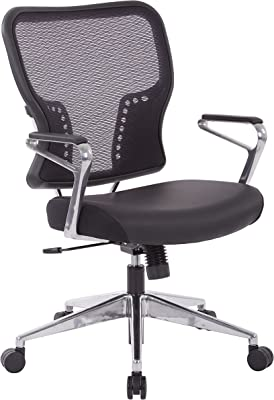 SPACE Seating  AirGrid Back and Bonded Leather Seat, 2-to-1 Synchro Tilt Control, Padded Polished Aluminum Arms, and Polished Aluminum Base Managers Chair, Black