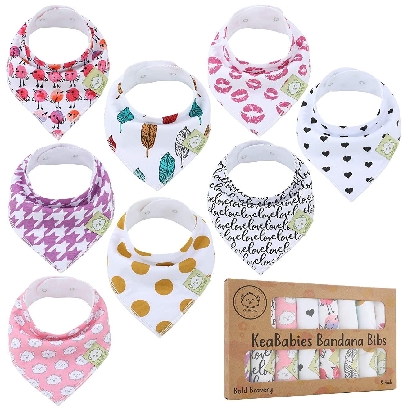 Baby Bandana Drool Bibs for Girls - Super Absorbent Organic Cotton Bandana Bibs - Baby Drool Bib - Teething Bibs - Handkerchief Bibs for Infant, Toddler - 8-Pack Bib Set - Bib Girl (Bold Bravery)