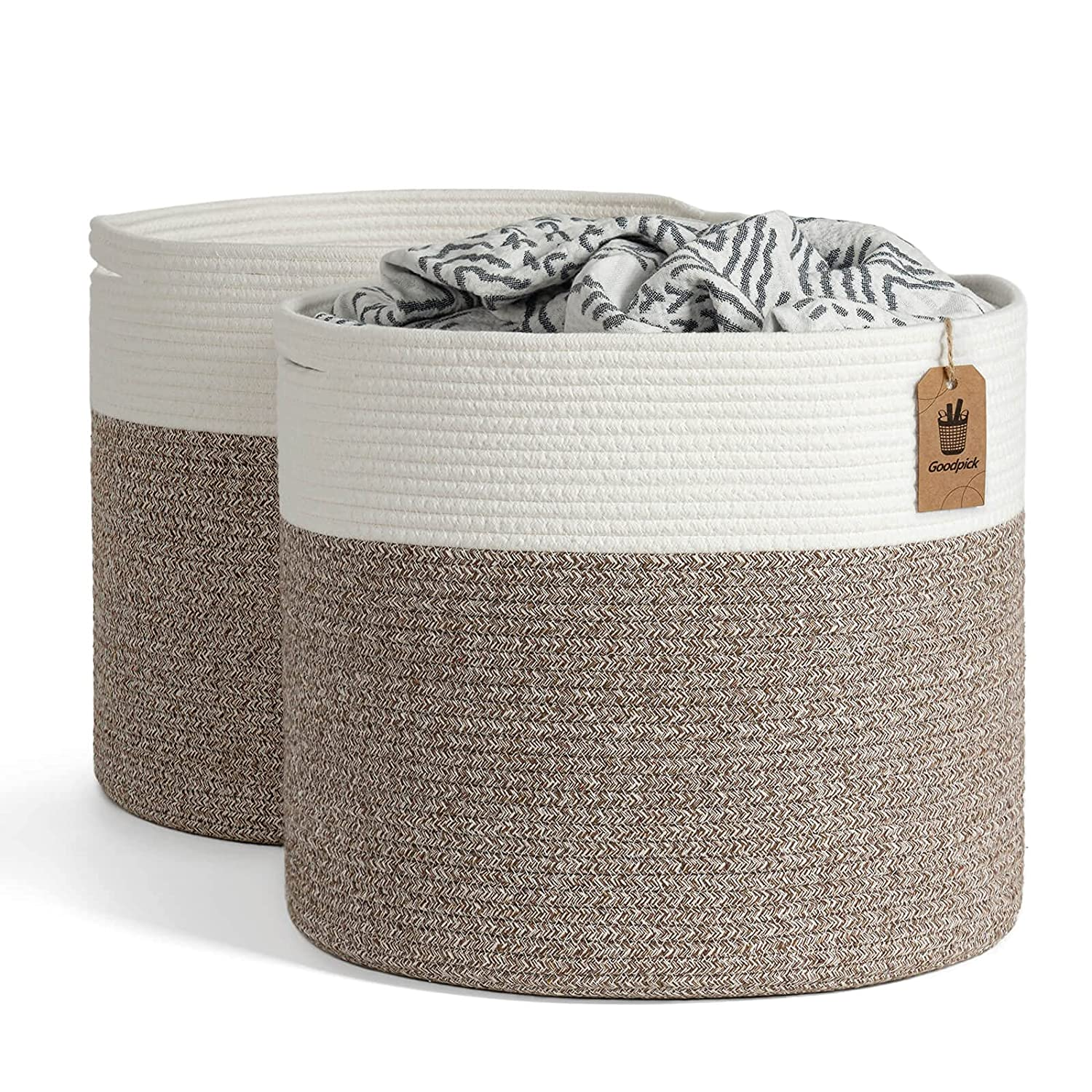 Goodpick 2pack Large Woven Dallas Mall Blanket Round Baskets Ranking TOP16 Laundry Storage