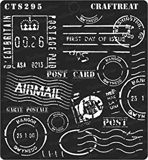 CrafTreat Stencil - Postal - Reusable Painting Template for Journal, Home Decor, Crafting, DIY Albums, Scrapbook, Decoration and Printing on Paper, Floor, Wall, Tile, Fabric, Wood 6x6 inches