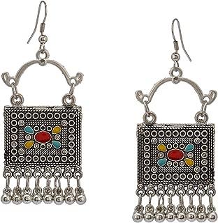 Zephyrr Afghani/Turkish Drop Earrings Silver Tone Casual Daily Wear Statement Jewelry For Women, (JAE-3455)