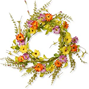 National Tree 20 Inch Floral Branch Wreath with Yellow, Orange and Pink Flowers (RAS-S0108S)