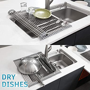 EMBATHER - Sturdy Extra Large Multipurpose -No Occupying Space Easily Store Heat Resistant Roll Up Dish Drying Rack - Fit for