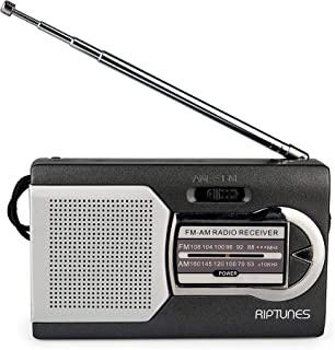 Riptunes AM/FM Portable Battery Operated Pocket Radio. Powered by 2 AA Batteries (Black)