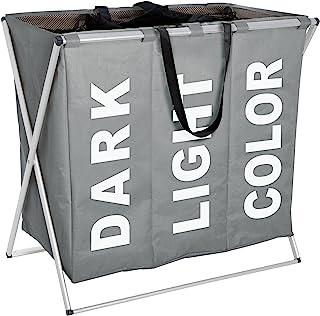 WENKO Panier à linge Trio gris - corbeille à linge Capacité: 130 l, Polyester, 63 x 57 x 38 cm, Gris