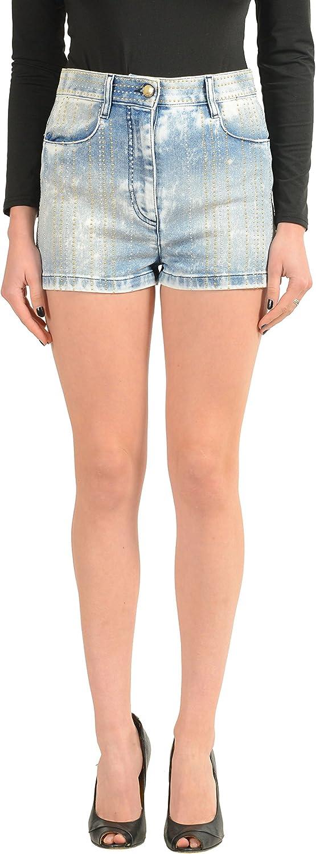 Just Cavalli Blue Embellished Denim Women's Casual Shorts US 26 IT 40