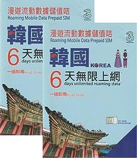 [Three] 2枚セット韓国 4G-LTE(FDD) 6日間 データ通信 使い放題 プリペイドSIMカード SKtelecom[並行輸入品]