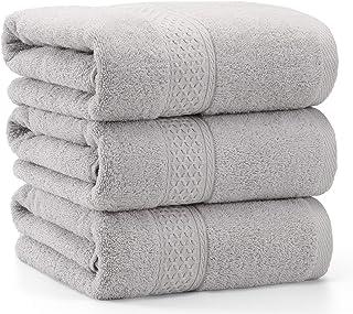 バスタオル 3枚セット グレー TMVOK 綿100% タオル おしゃれ 北欧風 瞬間吸水 速乾 70*140cm 厚手 大判 家庭用、ホテル、業務用、スポーツなどにも最適 四季通用