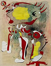 Joan Miró - Two Figures and a Dragonfly, Size 18x24 inch, Poster Art Print Wall décor