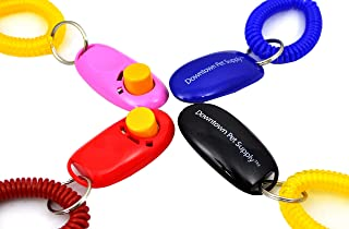 Big Button Pet Dog Cat Training Clickers Click with Wrist Bands - 4 Pack by Downtown Pet Supply