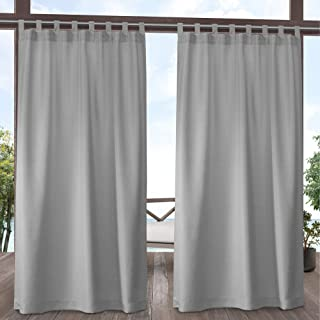 Exclusive Home Curtains Indoor/Outdoor Solid Cabana Tab Top Curtain Panel Pair, 54x108, Cloud Grey