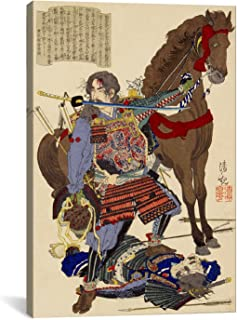 iCanvasART Samurai and Horse Japanese Woodblock Canvas Art Print, 40 by 26-Inch