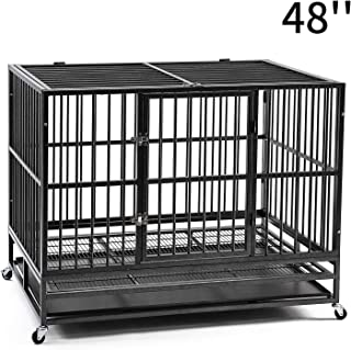 PUPZO Heavy Duty Dog Cage Crate Kennel Carbon Steel with Four Wheels for Large Dogs Easy to Install