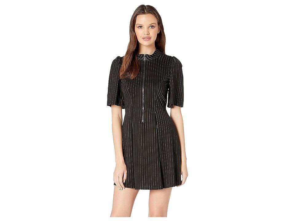 BCBGeneration Front Zipper Fit N Flare Dress (Black Combo) Women
