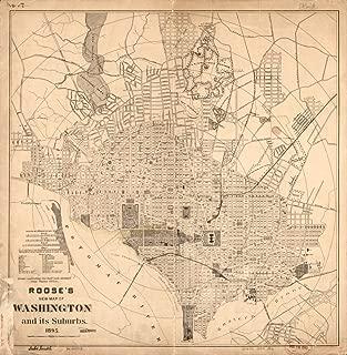 1895 Roose's New Washington and its Suburbs. United States, Washington, Washington D.C.- 24