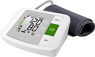 ecomed BU-90E Tensiómetro para el brazo, pantalla de arritmia, escala de colores del semáforo de la OMS, para la medición precisa de la tensión arterial y la medición del pulso con función de memoria