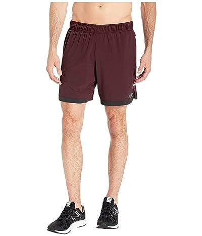 New Balance Q Speed Run Crew Shorts (Henna) Men