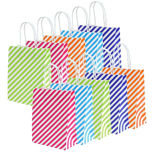 Keriber 20 Pieces Paper Party Bags Gift Bag Kraft With Handle For Birthday Set