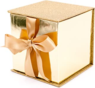 """Hallmark Signature 4"""" Small Gift Box with Paper Fill (Gold Glitter) for Weddings, Engagements, Graduations, Holidays, Chri..."""