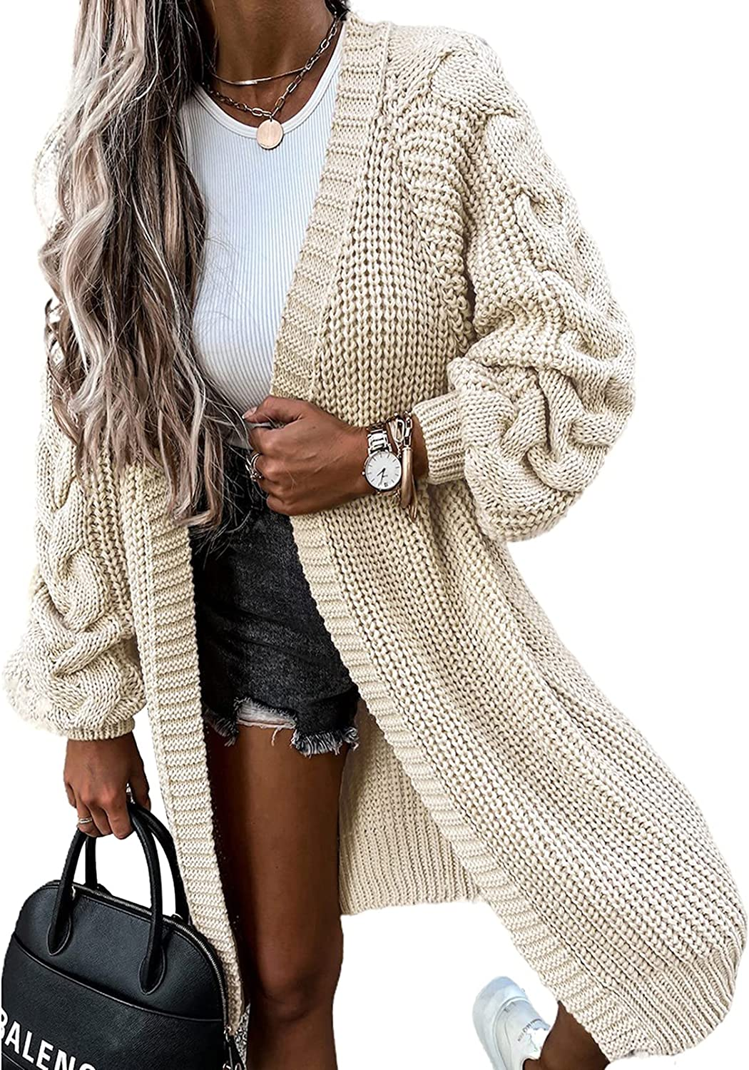 Ecrocoo Women's Long Sleeve Casual Open Front Cardigan Sweater Solid Color Chunky Knitted Loose Outerwear Coat with Pockets