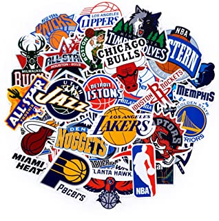 NBA Team Stickers Set 43Pack All Teams Collection Sticker Decals Packs for Water Bottle Laptop Cellphone Skateboard Bicycle Motorcycle Car Bumper Luggage Travel Case. Etc (43pcs)