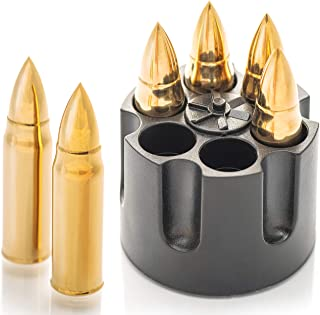 Gold XL Edelstahl Whisky Steine Bullets – Hohe Kühltechnologie - Geschenk für Männer - Eiswürfel Wiederverwendbar - Edelstahl Eiswürfel - 6 Whiskey Patrone Männer Geschenke - Amerigo Whiskey Zubehör