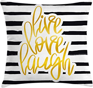 Ambesonne Live Laugh Love Throw Pillow Cushion Cover, Romantic Design with Hand Drawn Stripes and Calligraphic Text, Decorative Square Accent Pillow Case, 20