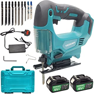 YASSIMY Cordless Jigsaw with Battery and Charger, Electric Jigsaw Tool for Wood Metal Cutting, 10 Blades, 0-3000 RPM No-Lo...