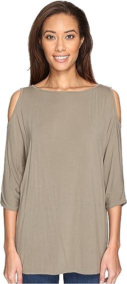 Lycra Jersey 3/4 Sleeve Cold Shoulder Tunic