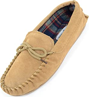 SNUGRUGS Mens Traditional Genuine Suede Leather Moccasin/Slippers with Rubber Sole