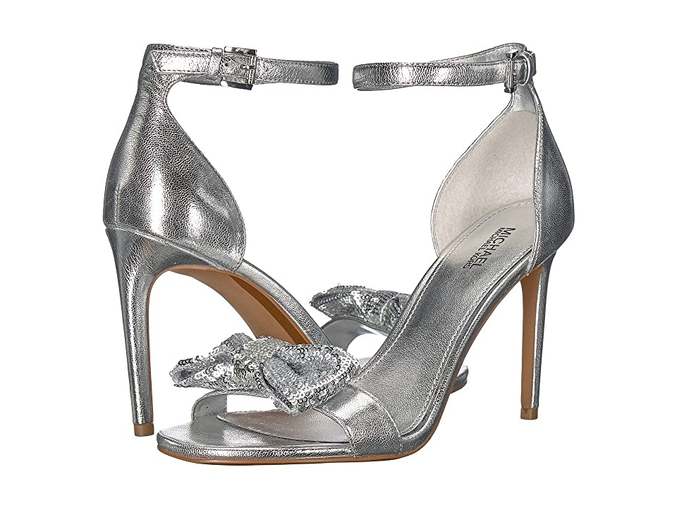 MICHAEL Michael Kors Paris Sandal (Silver Metallic Nappa/Sequin) High Heels