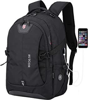 """Anboer Swiss Black Laptop Travel Backpack, Large Capacity Computer Back Pack with Lots of Pockets,Water Repellent College Shoulder Bookbag-Fits Most 17"""" Inch Laptops with USB Port"""