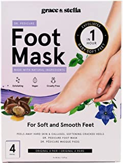 Dr. Pedicure Foot Peel Mask (4 Pair - Unscented) - Vegan - Exfoliating Foot Peeling Mask - Foot Mask For Dry Cracked Feet...