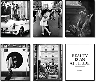 Fashion Wall Art Print Set of 6 Black and White Canvas Painting Perfume Woman Beauty Pictures Prints Poster Set for Living...
