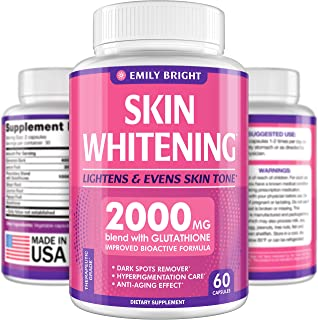Glutathione Whitening Pills - 2000mg Glutathione - Better than Skin Lightening Cream - Dark Spots & Acne Scar Remover, Hyp...