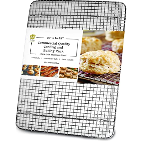 Oven-Safe, Dishwasher-Safe 100% Stainless Steel Cooling and Baking Rack - Wire Cooling Rack fits Jelly Roll Sheet Pan - Cooling, Roasting, Cooking, Baking - Food-Safe, Heavy Duty - 10 x 14.75 inch