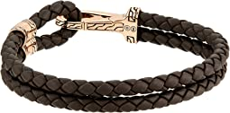 Classic Chain Hook Clasp Bracelet in Brown Leather