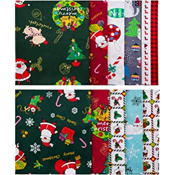 45cm x 55cm LUTER 10PCS 18 Inch x 22 Inch Cotton Fabric Bundles Sewing Square Patchwork Precut Fabric Scraps for Patchwork Sewing DIY Crafts Wallets Doll Dress Apron