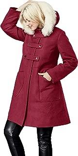 Women's Plus Size Faux Fur Trim Wool-Blend Coat