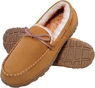 festooning Mens Moccasin House Slippers Comfy Plush Lining Indoor Outdoor Micro Suede Driving Shoes